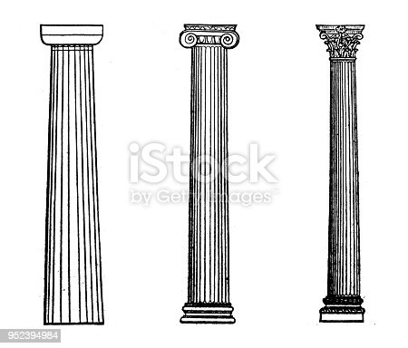 Antique engraving illustration: Columns