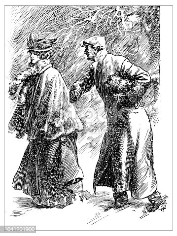 Antique engraving illustration: Couple in storm