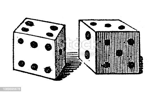 Antique engraving illustration: Dice