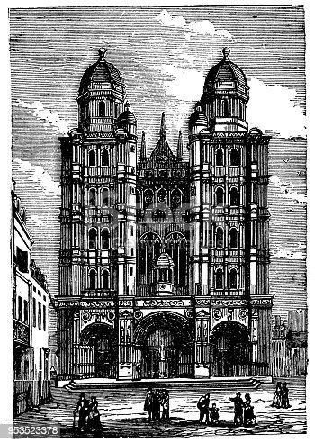 Antique engraving illustration: Dijon Cathedral