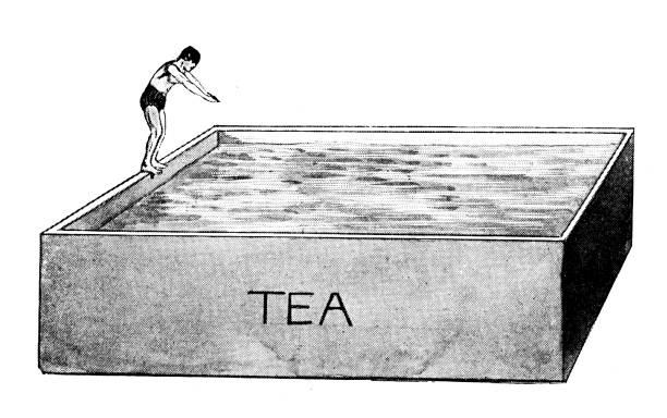 ilustrações de stock, clip art, desenhos animados e ícones de antique engraving illustration: diving into tea - jump pool, swimmer