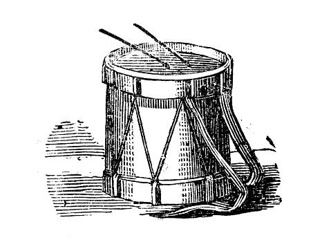 Antique engraving illustration: Drum