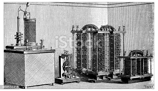 Antique engraving illustration: electric plant machinery