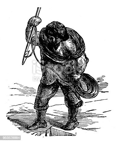 Antique engraving illustration: Eskimo Hunter