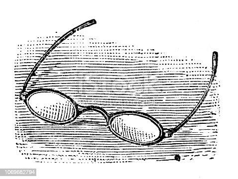 Antique engraving illustration: Eyeglasses
