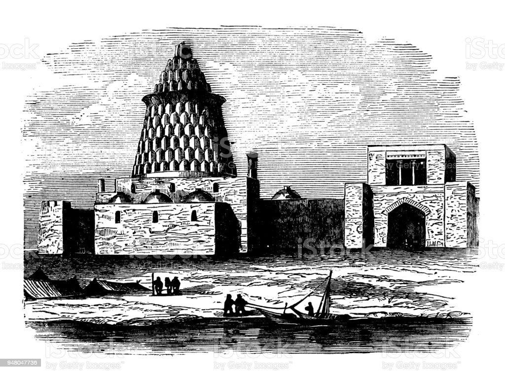 Antique engraving illustration: Ezekiel Tomb, Bagdad vector art illustration