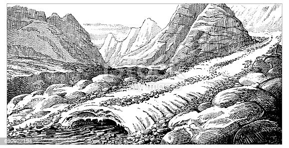 Antique engraving illustration: Glacier moraines