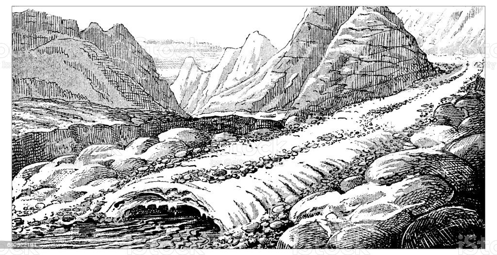 Antique engraving illustration: Glacier moraines vector art illustration