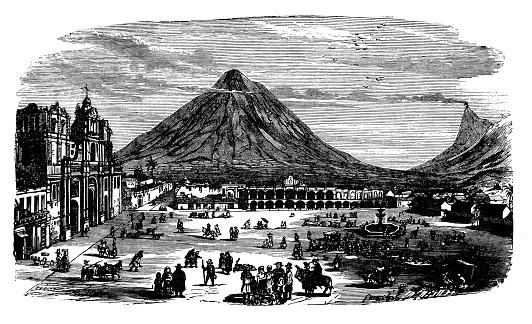 Antique engraving illustration: Guatemala La Antigua