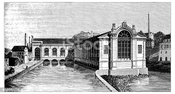 Antique engraving illustration: hydroelectric plant