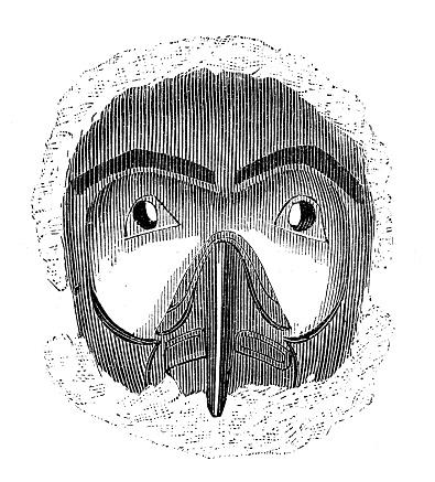 Antique engraving illustration: indigenous tribe mask
