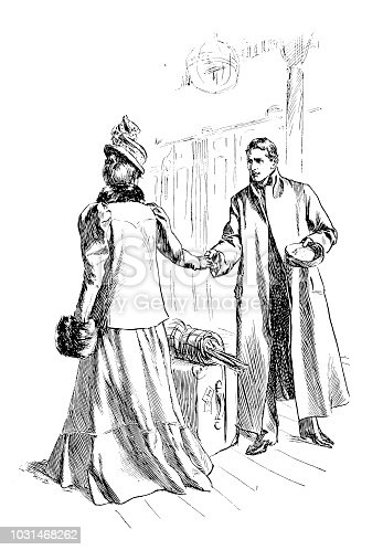 Antique engraving illustration: Man shaking hand of woman