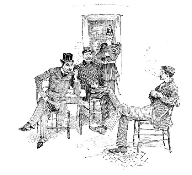 Antique engraving illustration: Men and guards Antique engraving illustration: Men and guards police interview stock illustrations