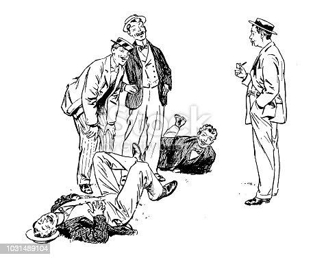 Antique engraving illustration: Men laughing