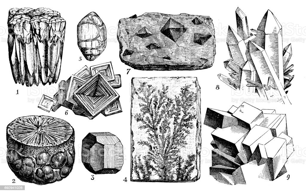 Antique engraving illustration: Minerals and ores vector art illustration