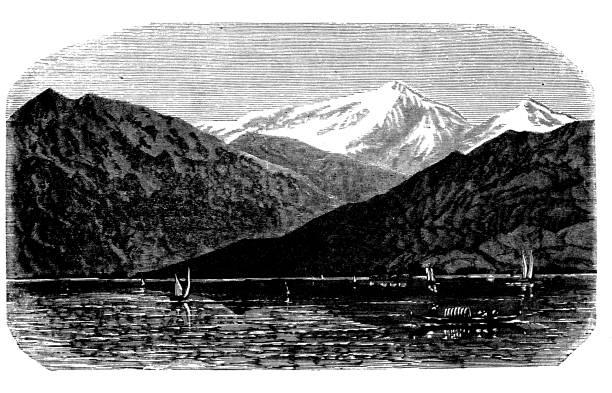 illustrazioni stock, clip art, cartoni animati e icone di tendenza di antique engraving illustration: mont blanc from morges - monte bianco