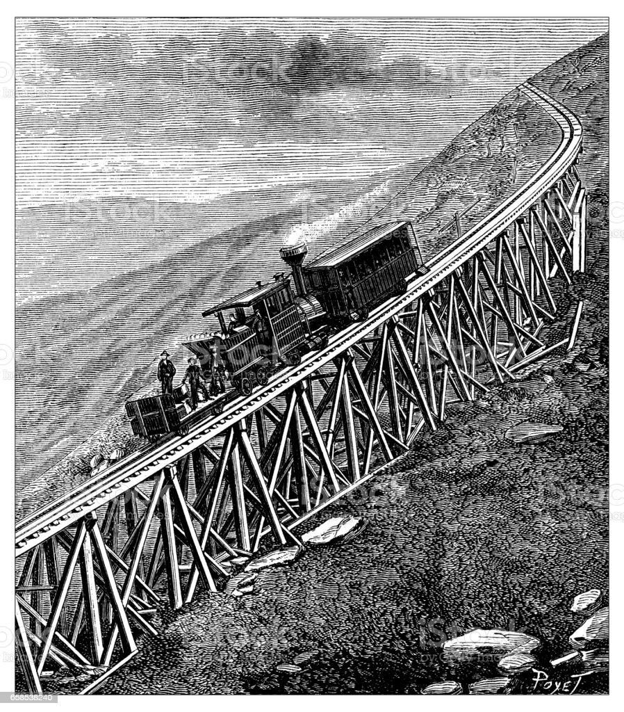 Antique engraving illustration: Mount Washington train vector art illustration