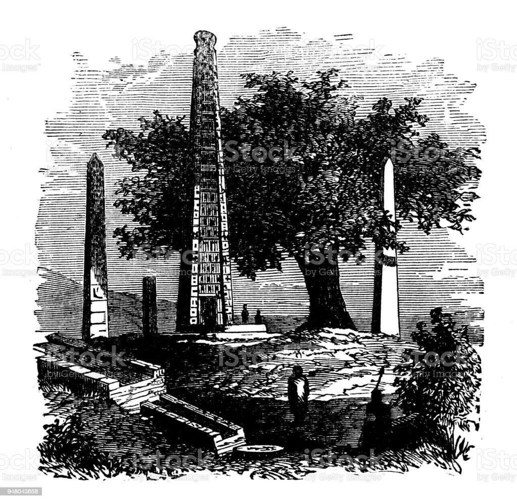Antique engraving illustration: Obelisk of Axum