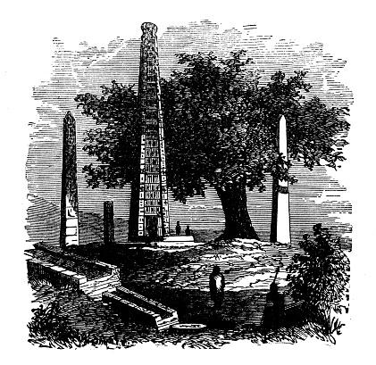 Antique engraving illustration: Obelisk of Axum