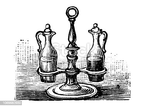 Antique engraving illustration: Oil and vinegar