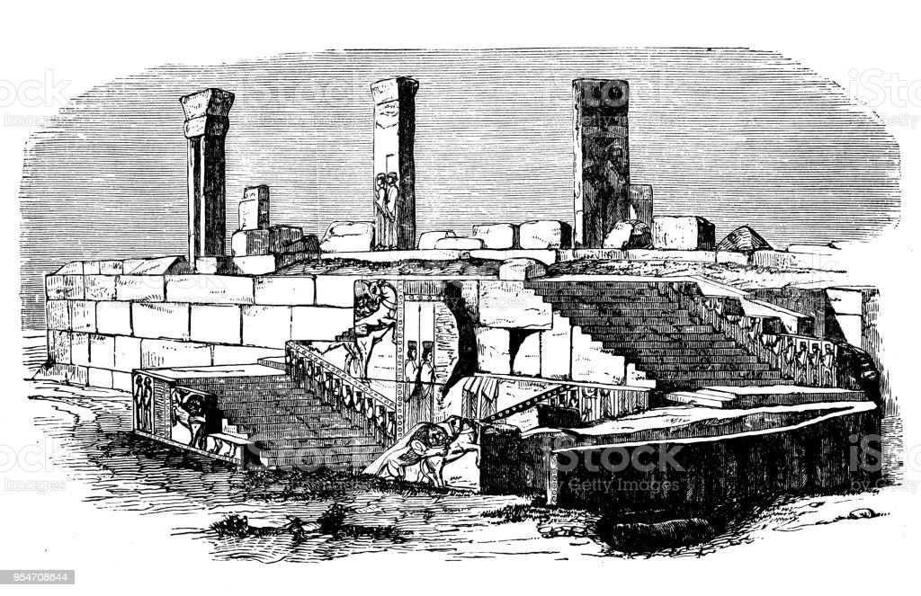 Antique Engraving Illustration Palace Of Xerxes In Persepolis Stock Illustration Download Image Now Istock