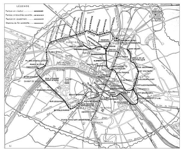 Antique engraving illustration: Paris Subway Metro map Antique engraving illustration: Paris Subway Metro map paris black and white stock illustrations