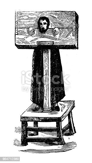 Antique engraving illustration: Pillory