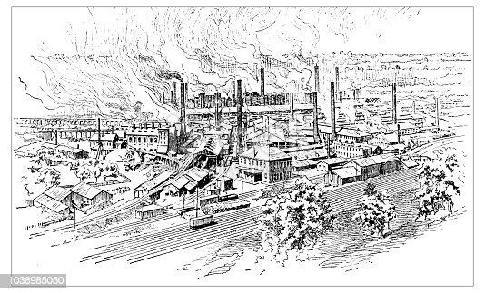 Antique engraving illustration: Pittsburg industry