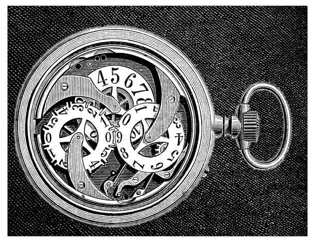 Antique engraving illustration: pocket watch clock vector art illustration