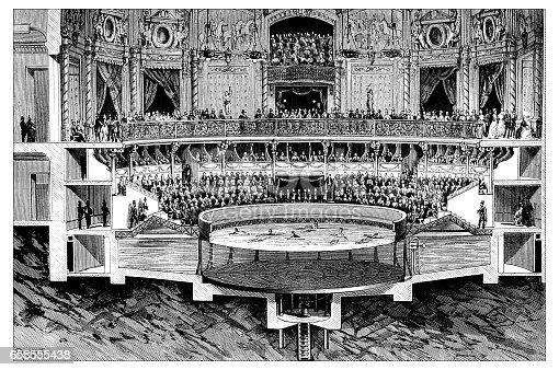 Antique engraving illustration: pool show theatre