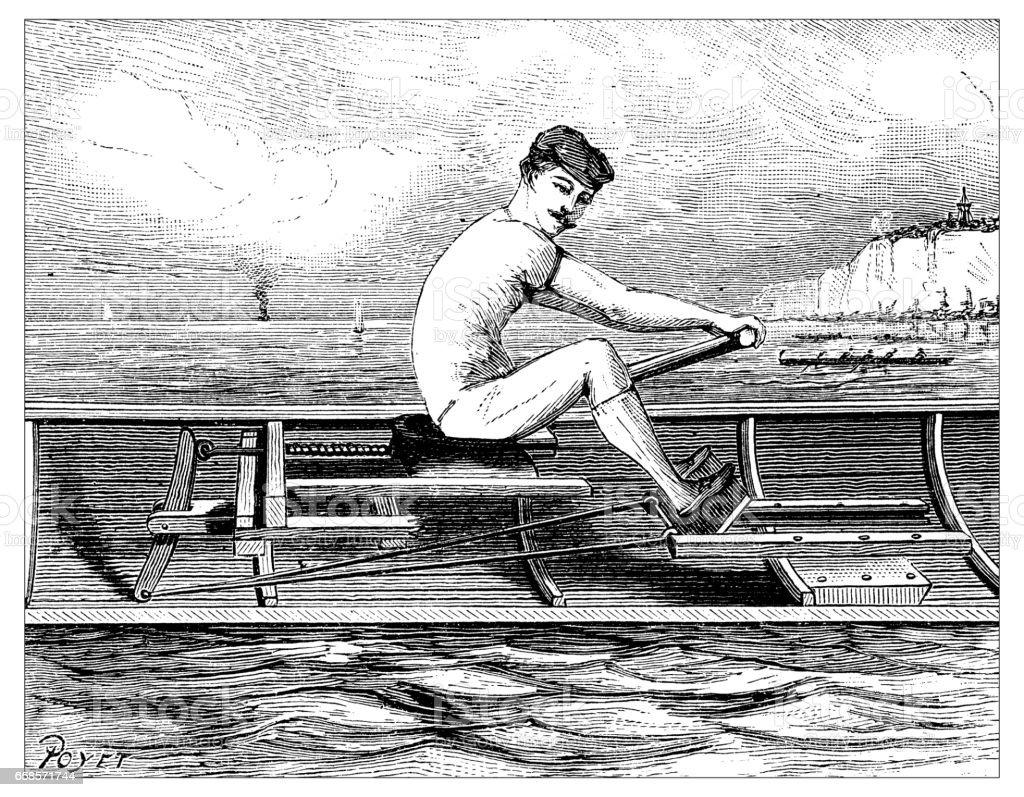 Ancienne gravure illustration: aviron - Illustration vectorielle