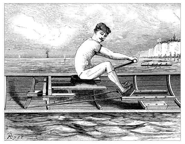 illustrations, cliparts, dessins animés et icônes de ancienne gravure illustration: aviron - sports de pagaie