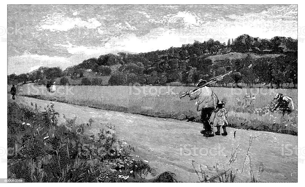 Antiga gravura ilustração: Runnymede - ilustração de arte em vetor