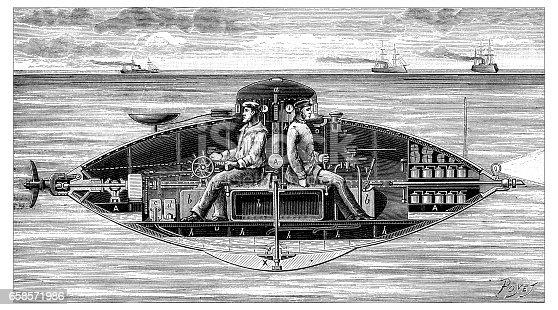 Antique engraving illustration: russian submarine