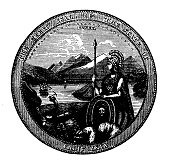 Antique engraving illustration: Seal of California