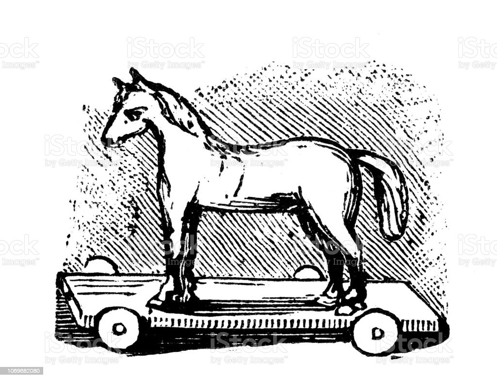Antique Engraving Illustration Toy Horse Stock Illustration Download Image Now Istock
