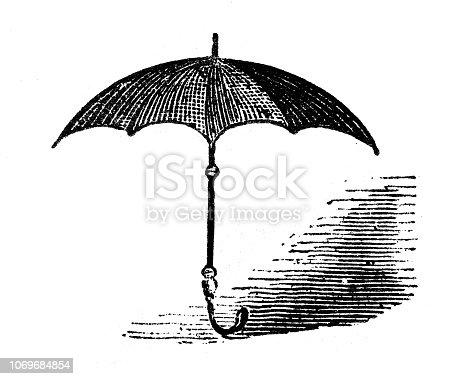 Antique engraving illustration: Umbrella