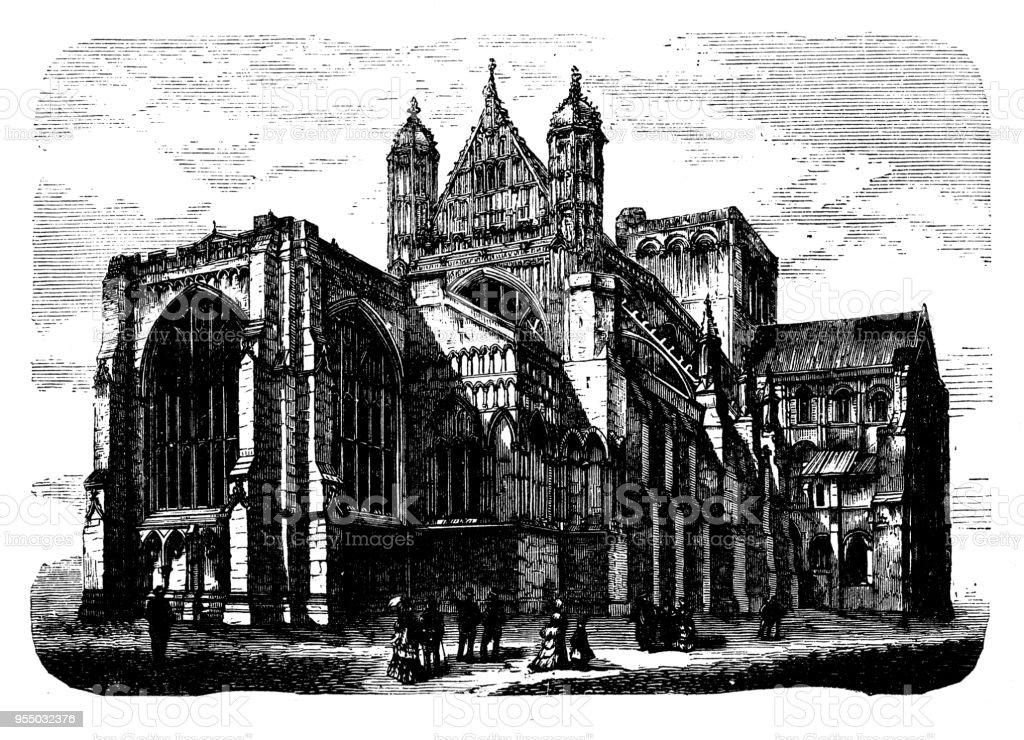 Antique engraving illustration: Winchester Cathedral vector art illustration