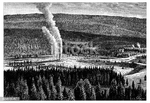 Antique engraving illustration: Yellowstone Park Old Faithful geyser