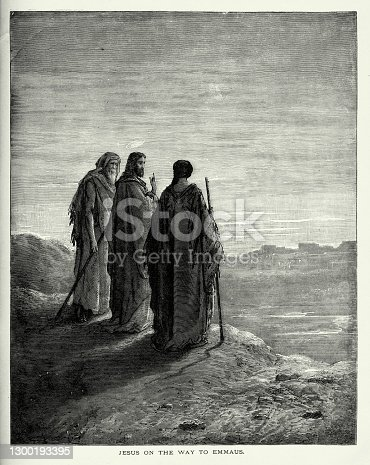 istock Antique Engraving: Jesus on the Way to Emmaus Engraving 1300193395