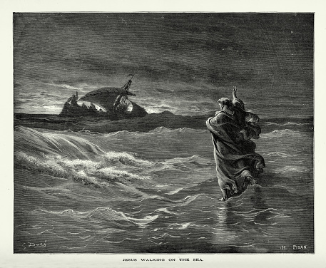 Rare and beautifully executed Engraved illustration of Jesus Walking on Water Biblical Engraving from The Popular Pictorial Bible, Containing the Old and New Testaments, Published in 1862. Image depicts the idea of good over evil. Copyright has expired on this artwork. Digitally restored.