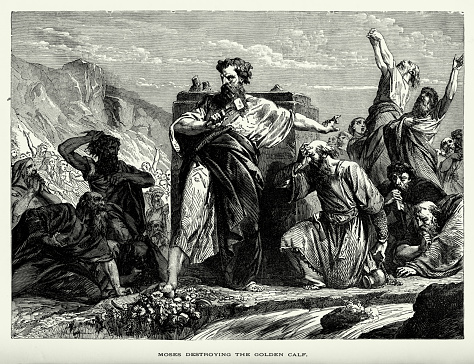 Antique Engraving: Moses Destroying the Golden Calf Engraving