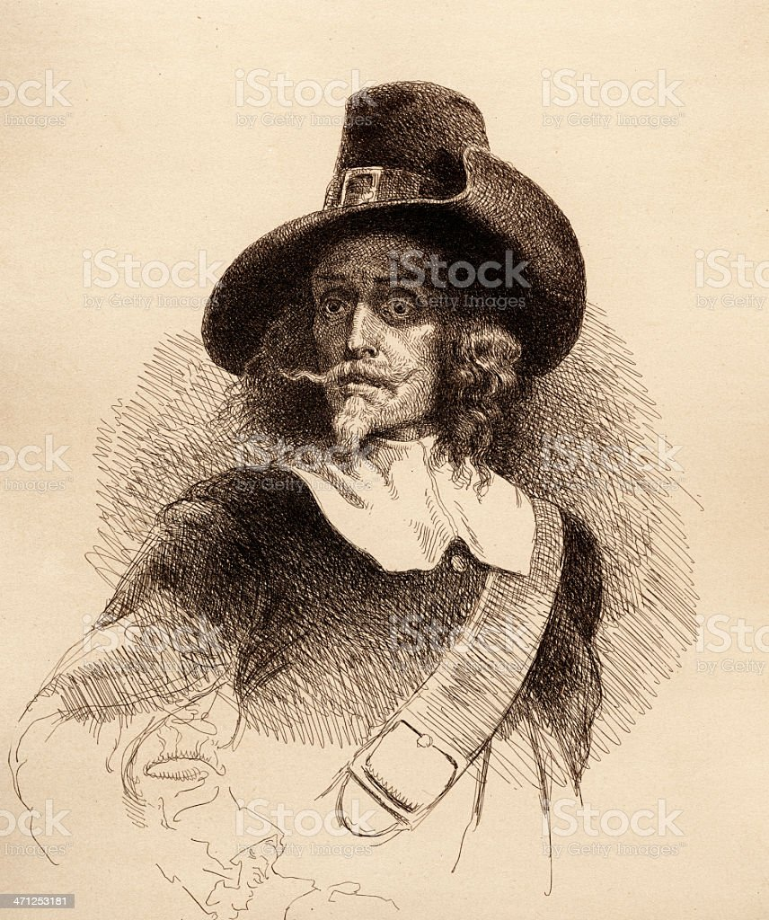 Antique Engraving of a Pilgrim royalty-free stock vector art