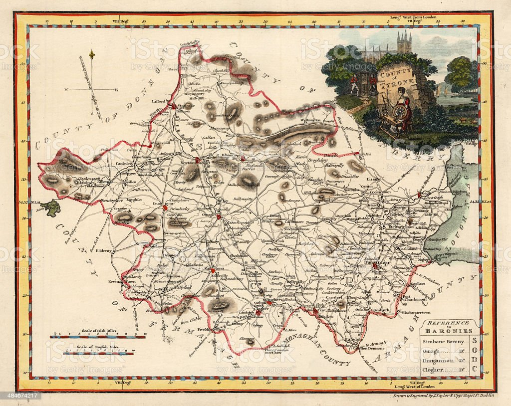 Antique Engraving of County of Tyrone in Ireland vector art illustration