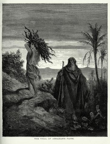 Antique Engraving: Trial of Abraham's Faith