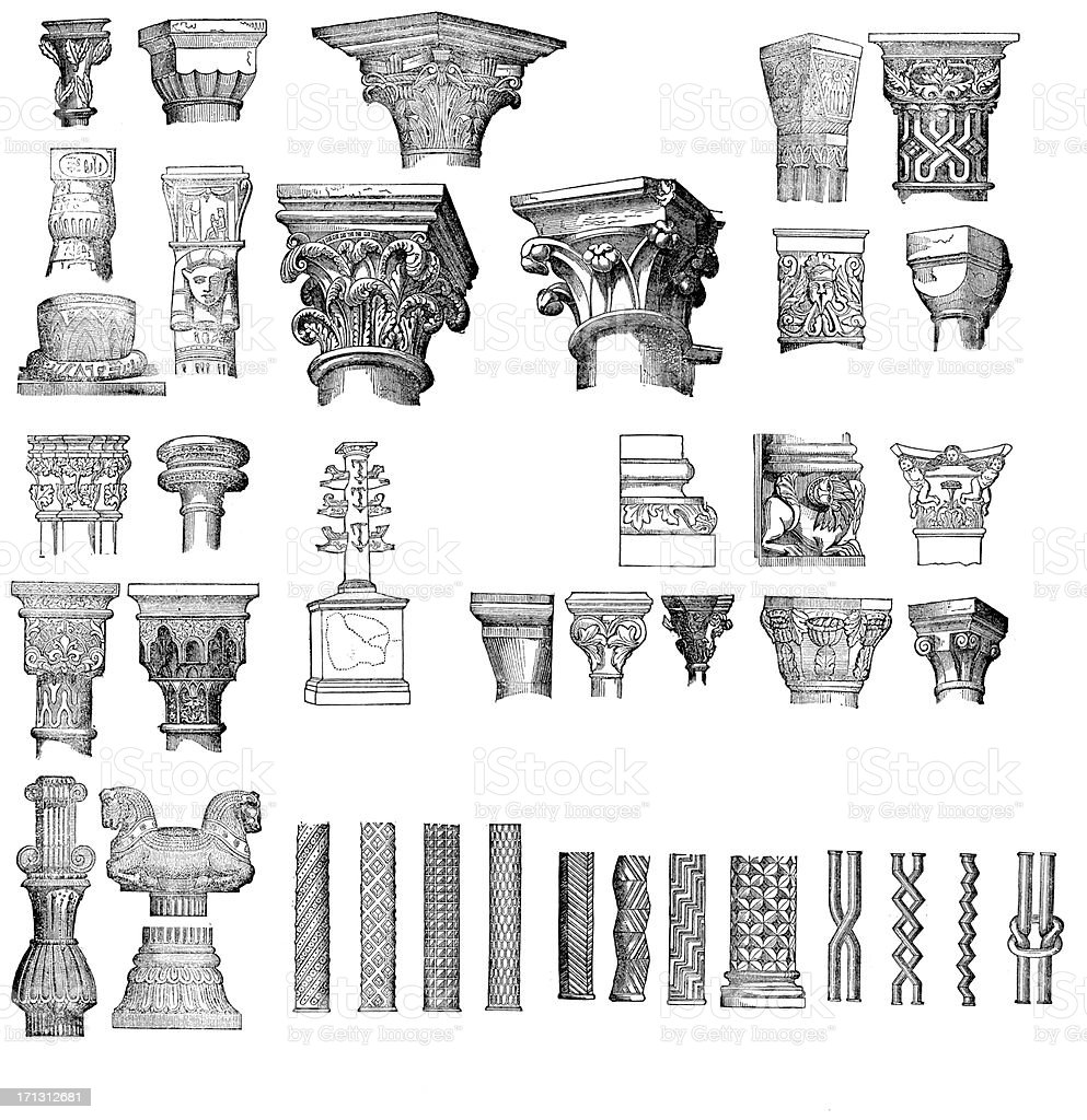 Antique engravings columns and capitals collection vector art illustration