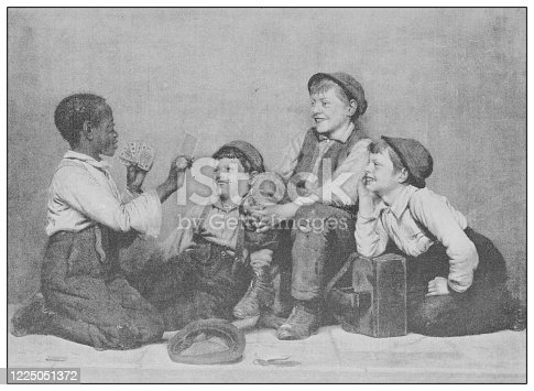 istock Antique famous painting from the 19th century: A card trick by J G Brown 1225051372