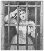 Antique famous painting from the 19th century: Charlotte Corday in prison by Charles Louis Muller