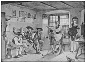 istock Antique famous painting from the 19th century: In the barber shop by Benjamin Vautier 1225032663