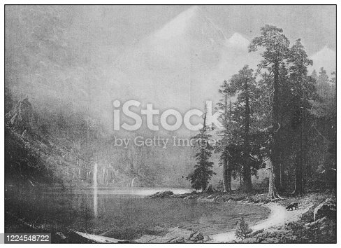 Antique famous painting from the 19th century: Mount Corcoran (Southern Sierra Nevada) by Albert Bierstadt